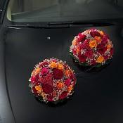 Svatební dekorace na auto, autopřísavka rondela