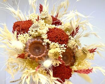 Kytice ze sušených květin ĆERVENÝ ŘEBŘÍČEK