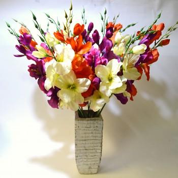Umělá květina GLADIOLA TMAVĚ FIALOVÁ