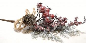 Vánoční dekorace VĚTVIČKA SVÁTEČNÍ SE ŠIŠKOU