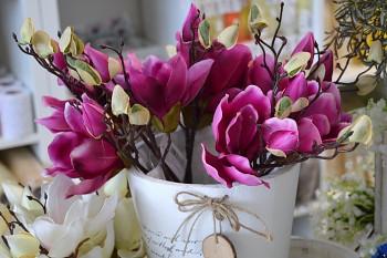 Umělá květina Magnolie růžová