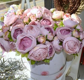 Umělá květina KYTICE RANUNCULUS RŮŽOVÝ