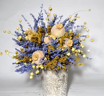 Kytice ze sušených květin MAKOVICE A LEN