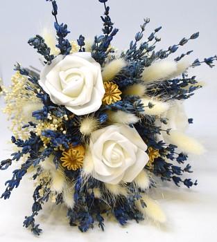 Kytice ze sušených květin Levandule, bílá růže