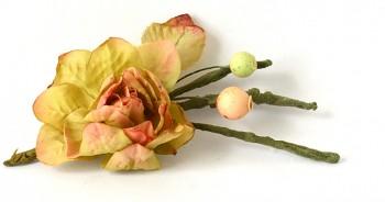 Umělé květiny Suchá růže zelená, přízdoba