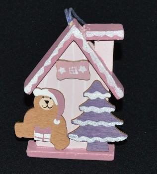 Vánoční ozdoba Domeček růžový