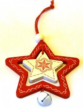 Dřevěná vánoční ozdoba Hvězdička
