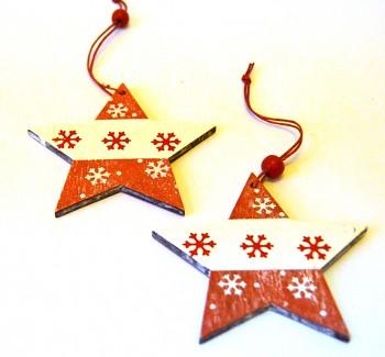 Dřevěná vánoční ozdoba Červenobílá hvězda