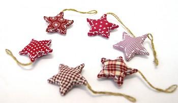 Látková vánoční ozdoba Sada hvězdiček