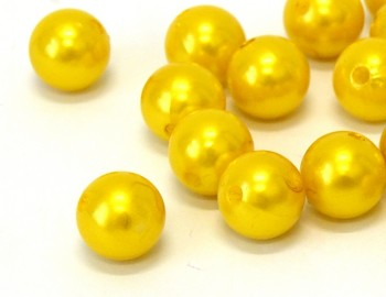 Dekorační perly žluté 20mm