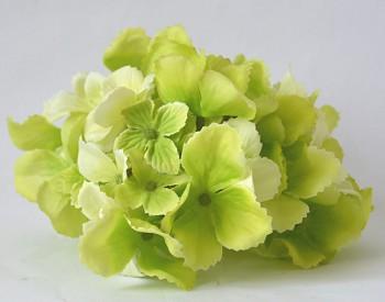 Umělé květiny Hortenzie zelená 13 cm
