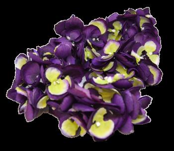 Umělá květina Hortenzie fialovozelená