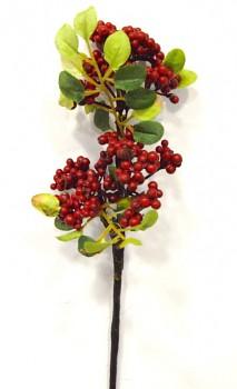 Umělé květiny Podzimní větvička bobule červené