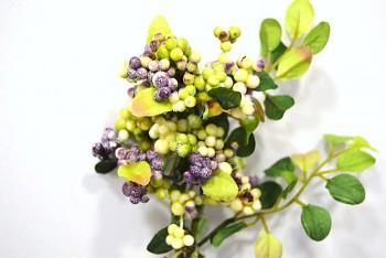 Umělá květina Větvička bobule fialové