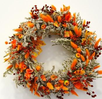 Podzimní  věnec na dveře Oranžový podzim