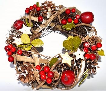 Vánoční věnec na dveře V ČERVENÉ BARVĚ, vánoční dekorace