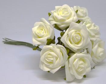 Umělá květina KYTICE KRÉMOVÁ RŮŽE