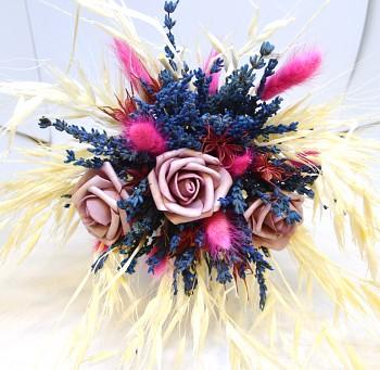 Kytice ze sušených květin Levandule, růžová růže