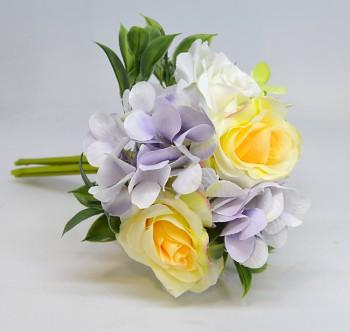 Umělá květina KYTICE HORTENZIE A RŮŽE ŽLUTÁ