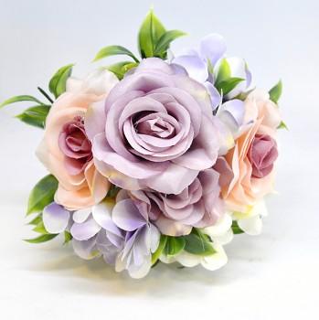 Umělá květina KYTICE HORTENZIE A RŮŽE RŮŽOVÁ