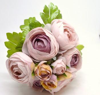 Umělá květina KYTICE RANUNCULUS  FIALOVORŮŽOVÝ