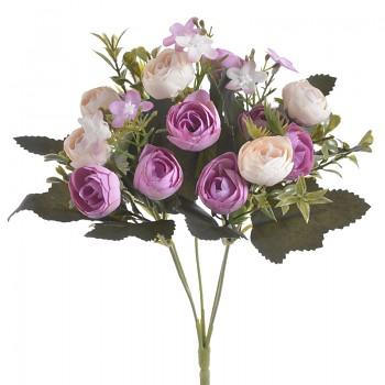 Umělá květina KYTIČKA RANUNCULUS FIALOVÝ