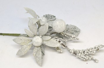 Vánoční ozdoba VĚTVIČKA S KVĚTEM, vánoční dekorace