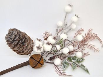 Vánoční dekorace ZIMNÍ VĚTVIČKA S ROLNIČKOU