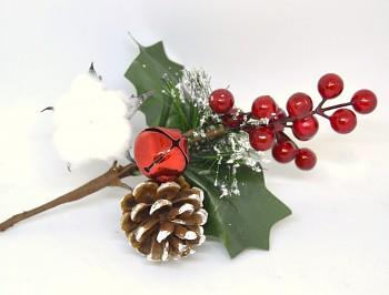 Vánoční dekorace VĚTVIČKA S BAVLNÍKEM