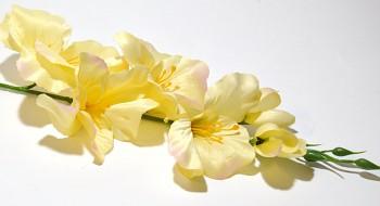 Umělá květina GLADIOLA SVĚTLE ŽLUTÁ