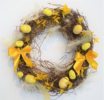 Velikonoční věnec na dveře SE ZLATÝM DEŠTĚM